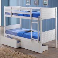 Bedford White Wooden 2 Drawer Storage Bunk Bed Frame - 3ft Single