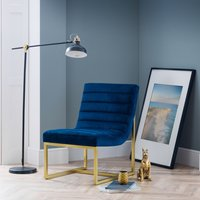 Bellagio Blue and Gold Velvet Fabric Chair