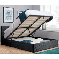 Berlin Black Crushed Velvet Fabric Ottoman Storage Bed Frame - 5ft King Size