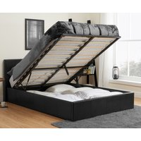 Berlin Black Leather Ottoman Storage Bed Frame - 4ft6 Double