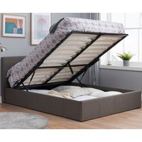 Berlin Grey Fabric Ottoman Storage Bed Frame - 3ft Single