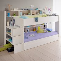 Bibop White Wooden Bunk Bed with Underbed Storage Drawer Frame Only - EU Single
