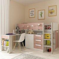 Girona Pink and Oak Wooden Mid Sleeper Frame - EU Single
