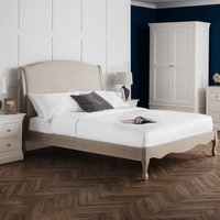 Camille Oatmeal Fabric and Oak Wooden Bed Frame - 5ft King Size