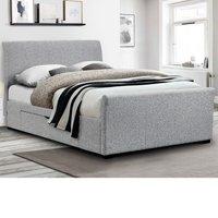 Capri Light Grey Fabric 2 Drawer Storage Sleigh Bed Frame - 5ft King Size
