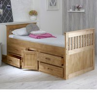 Wooden Storage Bed Frame 3ft Single Captains Waxed Pine