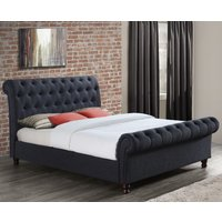 Castello Charcoal Fabric Scroll Sleigh Bed Frame - 4ft6 Double