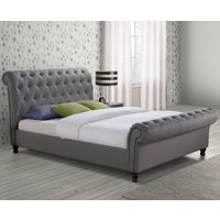 Castello Grey Fabric Scroll Sleigh Bed Frame - 5ft King Size