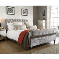 Castello Steel Fabric Scroll Sleigh Bed Frame - 4ft6 Double
