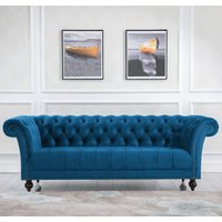 Chester Blue Fabric 3 Seater Sofa