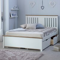 Wooden Bed Frame 4ft6 Double Chester White and Oak