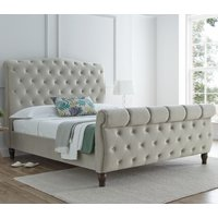 Colorado Warm Stone Velvet Fabric Sleigh Bed Frame - 5ft King Size