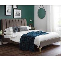 Deco Grey Velvet Fabric Bed Frame Only - 5ft King Size