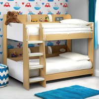 Domino Storage Bunk Bed, 3ft Single, Wooden & Metal, White and Maple Finish