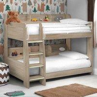 Domino Oak Wooden and Metal Kids Storage Bunk Bed Frame - 3ft Single
