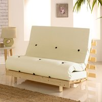 Metro Pine Wooden 1 Seater Chair/Folding Guest Bed with Cream Futon Mattress - 2ft6 Small Single