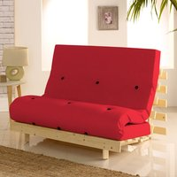 Metro Red Cotton Drill Fabric Tufted Futon Mattress - 4ft Small Double