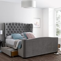 Downton Grey Velvet Fabric 2 Drawer Storage Bed Frame - 6ft Super King Size