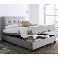 Walkworth Light Grey Fabric Ottoman Storage Bed Frame - 6ft Super King Size
