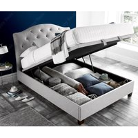 Lindisfarne Stone Grey Fabric Ottoman Storage Bed Frame - 4ft6 Double