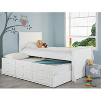 Verona White Wooden Storage Guest Bed Frame - 3ft Single