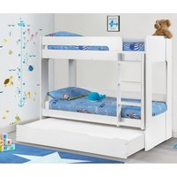 Ellie White Wooden Bunk Bed Frame and Trundle Guest Bed/Underbed Storage Drawer - 3ft Single