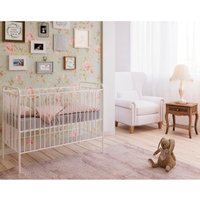 Vintage White Metal Baby Cot Frame - 60 x 120 cm