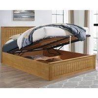 Fairmont Oak Wooden Ottoman Storage Bed Frame - 4ft6 Double