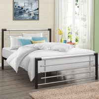 Faro Black and Silver Finish Metal Bed Frame - 3ft Single