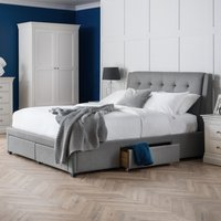 Fullerton Grey Fabric 4 Drawer Storage Bed Frame Only - 4ft6 Double