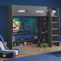 Galaxy Grey Wooden Gaming High Sleeper Frame - 3ft Single