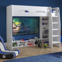 Galaxy White Wooden Gaming High Sleeper Frame - 3ft Single