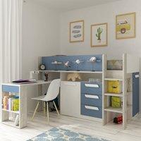 Girona Blue and Oak Wooden Mid Sleeper Frame - EU Single