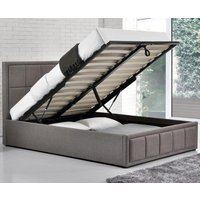 Hannover Grey Upholstered Fabric Ottoman Storage Bed Frame - 4ft6 Double