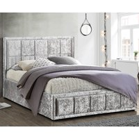 Hannover Steel Velvet Fabric Bed Frame - 4ft6 Double
