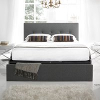 Hexham Smoke Fabric End Drawer Storage Bed Frame - 4ft6 Double