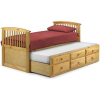 Hornblower Pine Finish Wooden 3 Drawer Storage Guest Bed Frame and Trundle - 3ft Single
