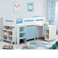 Wooden Kids Mid Sleeper Sleep Station Desk  Cabin Storage Bed Frame 3ft Single Kimbo Blue and White