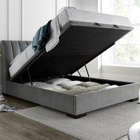 Lanchester Grey Plume Velvet Ottoman Bed Frame - 5ft King Size