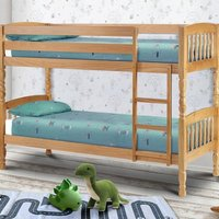 Lincoln Antique Solid Pine Wooden Bunk Bed Frame - 2ft6t Small Single