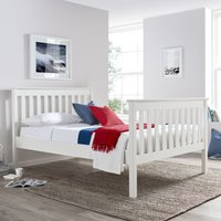 Solid Pine Wooden Bed Frame 5ft King Size Lisbon White Finish