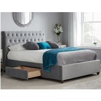 Marlow Grey Velvet Fabric 2 Drawer Storage Bed - 5ft King Size