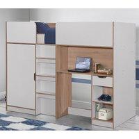 Merlin White and Oak Wooden High Sleeper Storage Bed Frame - 3ft Single