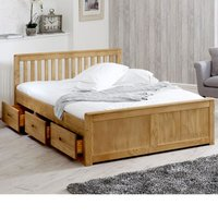 Wooden Storage Bed Frame 4ft6 Double Mission Waxed Pine