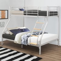 Nexus Silver Finish Metal Triple Sleeper Bunk Bed Frame - 3ft Single Top and 4ft6 Double Bottom