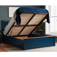 Phoenix Navy Blue Wooden Ottoman Storage Bed Frame Only - 5ft King Size