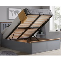 Phoenix Stone Grey Wooden Ottoman Storage Bed Frame Only - 4ft6 Double