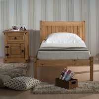 Solid Pine Wooden Bed Frame 4ft6 Double Rio Waxed