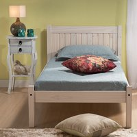 Wooden Bed Frame 3ft Single Rio White Washed