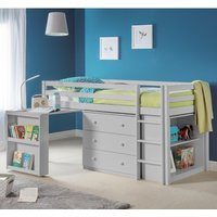Roxy Dove Grey Wooden Mid Sleeper Frame Only - 3ft Single